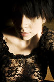 Goth emo punk short hair girl. Photo of new age goth emo punk girl with short hair stock photo