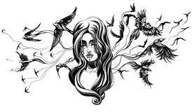 A goth girl. Goth girl with birds behind Royalty Free Stock Photography