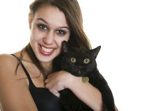 Goth Girl & Black Cat Royalty Free Stock Photos