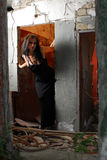 Goth Girl in doorway Royalty Free Stock Images
