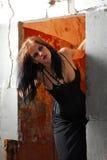 Goth Girl in doorway Stock Photo