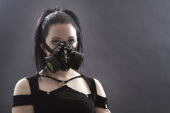 Goth girl with gas mask Royalty Free Stock Image