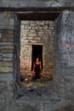 Goth girl in old building Stock Images