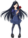Goth girl. Goth stile girl holding withered rose Stock Images