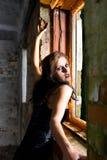 Goth Girl in Window Stock Image