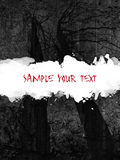 Goth grunge. Dramatic smeared blood sky with trees silhouettes sample your text Royalty Free Stock Photography