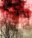 Goth grunge. Dramatic smeared blood-red sky with tree silhouettes Stock Photo
