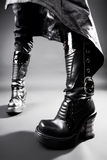 Goth heavy boots. Wide angle view Royalty Free Stock Photo