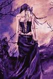 Goth kvinna i kedjor royaltyfri illustrationer