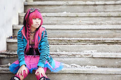 亚洲goth lolita 免版税库存照片