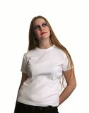 Goth Schönheit im weißen T-Shirt Stockbild