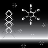 Goth set of snowflakes and firtree. Bone snowflake and firtree made of lightning Royalty Free Stock Photography