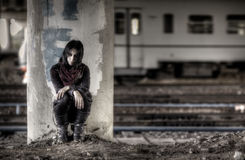 Goth woman at the column Stock Images
