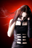 Goth woman with fluttering hair Royalty Free Stock Photography