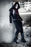 Goth woman in industrial zone Stock Photography