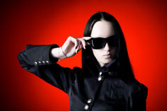 Goth woman with sunglasses Stock Photography
