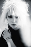 Goth woman with white hair portrait Stock Image