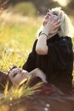 Goth women sorrow concept. Evening sunlight Royalty Free Stock Photos