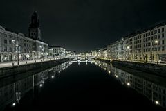 Gothenburg canal night scene royalty free stock photo