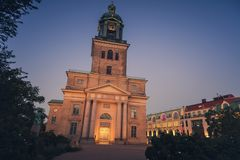 Gothenburg Cathedral at night. Gothenburg, Vasstergotland and Bohuslan, Sweden royalty free stock image