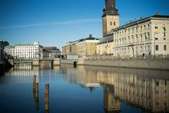 Gothenburg city reflections in the river with historical buildings. The historical buildings in Gothenburg city are reflected in it`s famous river on a beautiful Royalty Free Stock Photo