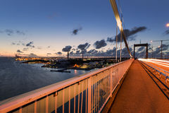 Gothenburg harbour with Älvsborgsbron during sunset Stock Photos