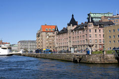 Gothenburg harbour wall. Shot from a boat Stock Image