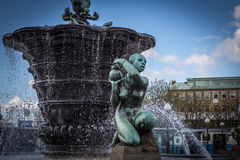 Gothenburg - The Iron Square. The former site of the scale is occupied by a large, granite fountain called De fem världsdelarna (The Five Continents), with five Royalty Free Stock Photos