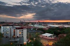 Gothenburg Majorna pendant le coucher du soleil Image stock