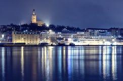 Gothenburg, margem da Suécia na noite imagem de stock
