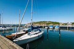 Gothenburg Marina in Sweden. GOTHENBURG, SWEDEN - May 18, 2018: Sailboats and yahts at the Gothenburg Marina in Sweden royalty free stock photo