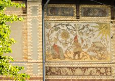 Gothenburg, mosaic on a house facade royalty free stock image