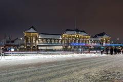 Gothenburg railway station. Gothenburg railway station a dark winter evening during rush hour with traffic in motion blur stock image
