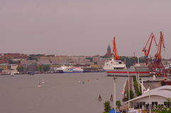 Gothenburg seaport panorama in daylight. View of seaport in the city of Gothenburg stock image