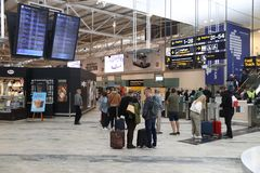 GOTHENBURG, SWEDEN - AUGUST 28, 2018: Passengers visit Gothenburg Landvetter airport in Sweden. It is the 2nd busiest airport in. Sweden with 6.8 million annual royalty free stock images
