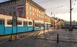 A Typical Long Blue Tram in Gothenburg. Gothenburg, Sweden - August 23, 2017: A Typical Long Blue Tram in Gothenburg royalty free stock photo