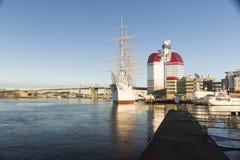 GOTHENBURG, SWEDEN - DECEMBER 13, 2015: The ship Barken Viking,. On background with high building Stock Photography