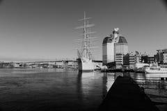 GOTHENBURG, SWEDEN - DECEMBER 13, 2015: The ship Barken Viking,. On background with high building Stock Photos