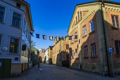 A cobblestone street in Haga, Gothenburg. stock photos