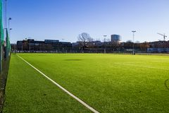 Heden soccer field in Gothenburg city. royalty free stock images