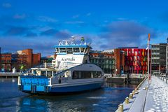 A passenger ferry in Gothenburg in the winter. stock image