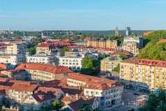 Late evening aerial view of Gothenburg city in summer. GOTHENBURG, SWEDEN - July 8, 2018 : Late evening aerial view of Gothenburg city in summer royalty free stock images