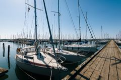 Gothenburg Marina in Sweden. GOTHENBURG, SWEDEN - May 18, 2018: Sailboats and yahts at the Gothenburg Marina in Sweden stock images