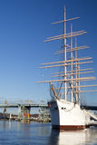 GOTHENBURG, SWEDEN: The ship Barken Viking. On background with bridge and beautiful blue sky stock photos