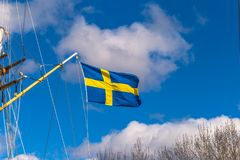 Gothenburg Szwecja, Kwiecień, - 14, 2017: Flaga Szwecja w Gothenbur Zdjęcie Stock