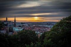 Gothenburg. View over Gothenburg harbor, Masthugg Church, Oscar Fredrik Church stock photo