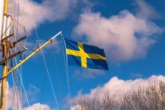 Gothenburg, Zweden - April 14, 2017: Vlag van Zweden in Gothenbur Stock Afbeelding