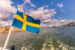 Gothenburg, Zweden - April 14, 2017: Vlag van Zweden in Gothenbur Stock Fotografie