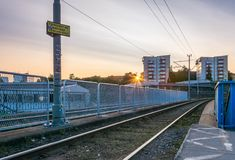 Gothenburg, Zweden - Augustus 23, 2017: Zonsondergang bij een Woonco Stock Fotografie