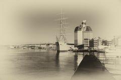 GOTHENBURG, ZWEDEN: Het schip Barken Viking in monochrom Stock Foto's
